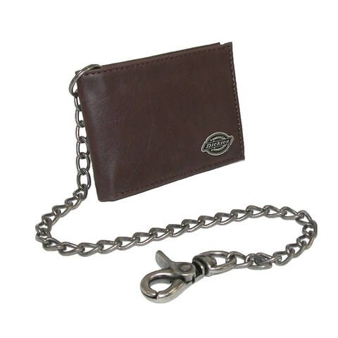 Dickies Men's Leather Trucker Chain Slimfold Wallet - one size