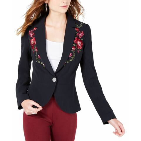 XOXO Black Women's Small S Embroidered Peplum Single Button Jacket
