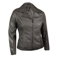 Alfani Women's Snake Embossed Zip Pleather Jacket - Slate