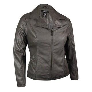 Alfani Women's Snake Embossed Zip Pleather Jacket