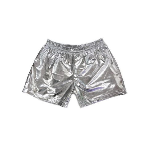 Wenchoice Girls Silver Stretch Waist Dance Gymnastic Swimming Shorts 6-8 - XL (6-8)