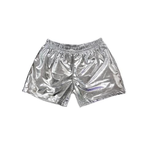 Wenchoice Little Girls Silver Stretch Waist Dance Gymnastic Swimming Shorts 4-6 - L (4-6)