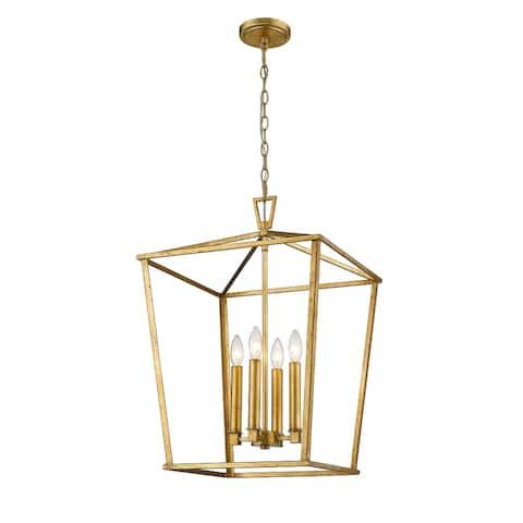 Farmhouse Modern Kitchen Island Lantern Gold Finish