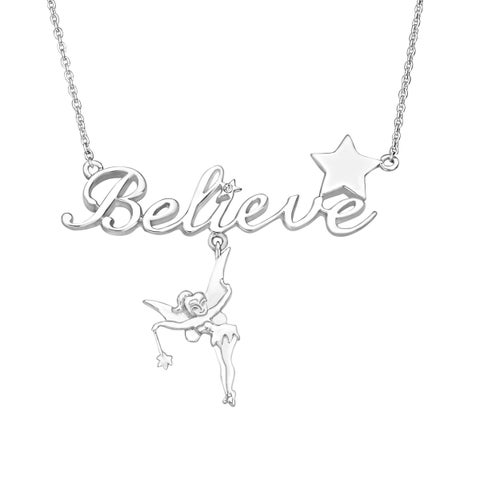 Disney's Tinker Bell 'Believe' Necklace with Crystal in Sterling Silver