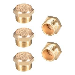 """Brass Exhaust Muffler, 3/8"""" G Male Thread Bronze Muffler w Brass Body Flat 5pcs"""