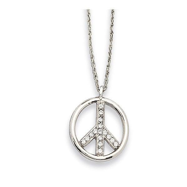 Silvertone Crystal Peace Symbol Necklace - 16in