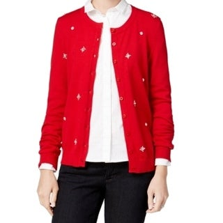 Tommy Hilfiger NEW Red Women's Size XL Cardigan Embellished Sweater