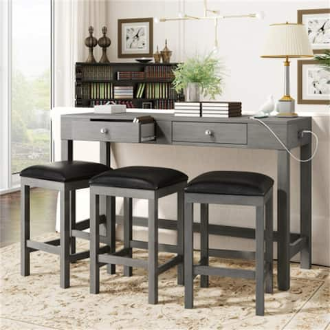 4-Pieces Kitchen Counter Height Dining Set With Socket,3 Leather Padded Stools