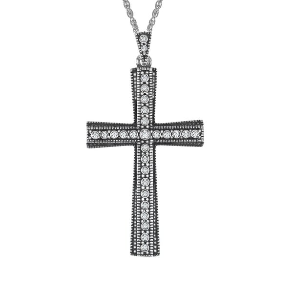 Van Kempen Cross Pendant with Swarovski Crystals in Sterling Silver