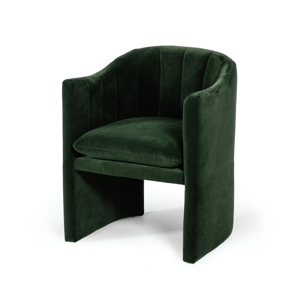 Deep green velvet accent chair