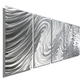 Statements2000 Silver 5 Panel Metal Wall Art Sculpture by Jon Allen - Hypnotic Sands 5P