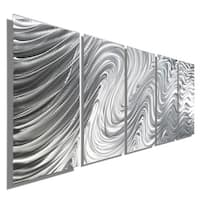 Statements2000 Silver 5 Panel Metal Wall Art Sculpture by Jon Allen - Hypnotic Sands 5P