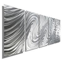 Statements2000 Silver Large Metal Wall Art Sculpture Panels by Jon Allen - Hypnotic Sands 5P