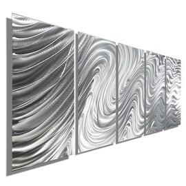 Statements2000 Silver Large Metal Wall Art Sculpture Panels by Jon Allen - Hypnotic Sands 5P