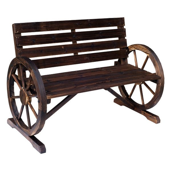 Outsunny Rustic Outdoor Patio Wagon Wheel Wooden Bench Chair For Your Garden Patio Or Entryway Overstock 22357399
