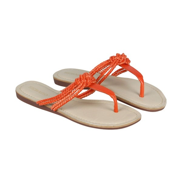 Sebago Sandal Womens Tan Leather Flip Flops Slip On Sandals Shoes