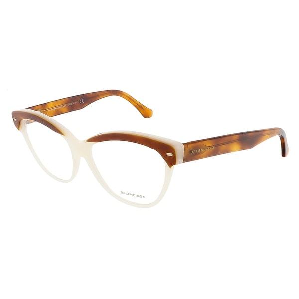 Balenciaga BA5010/V 056 Pearl/Havana Gradient Mustard Cat Eye Opticals - pearl/havana gradient musta
