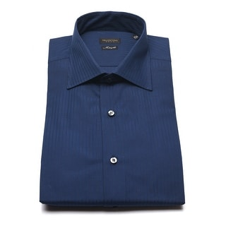 Valentino Men's Interfit Cotton Dress Shirt Navy