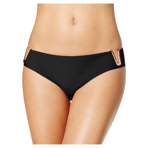 Rachel Roy Hardware Trim Scoop Bikini Bottom Medium M Black Womens Swimsuit