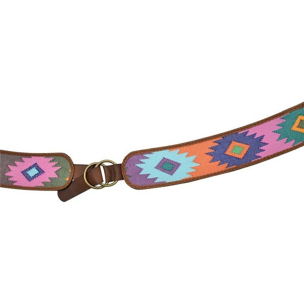 Angel Ranch Western Belt Womens Braid Leather Fabric Multi-Color