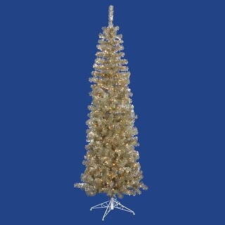 """7.5' x 34"""" Pre-Lit Champagne Gold Tinsel Artificial Christmas Tree - Clear Dura Lights"""