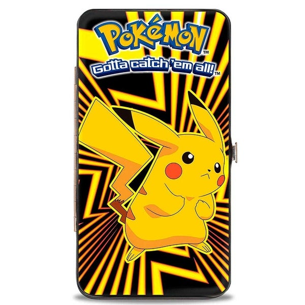 Pokmon Pikachu Pose Rays Black Yellows Hinged Wallet - One Size Fits most