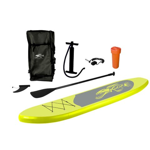 10.75' Yellow, Black, and Gray Kuda Inflatable Stand-Up Paddle Board