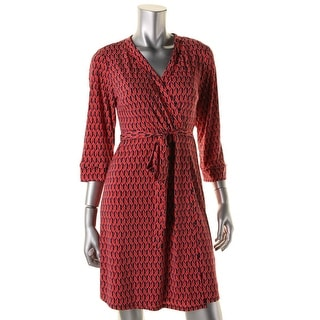 Laundry by Shelli Segal Womens Petites Faux Wrap Printed Wear to Work Dress - pm
