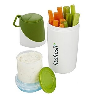 """Healthy Food Snacker Chilled Food Container for Snacks (White/Green) (8""""H x 3""""W x 3""""D)"""