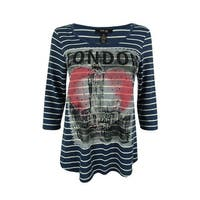 Style & Co. Women's Embellished London Print Striped Top