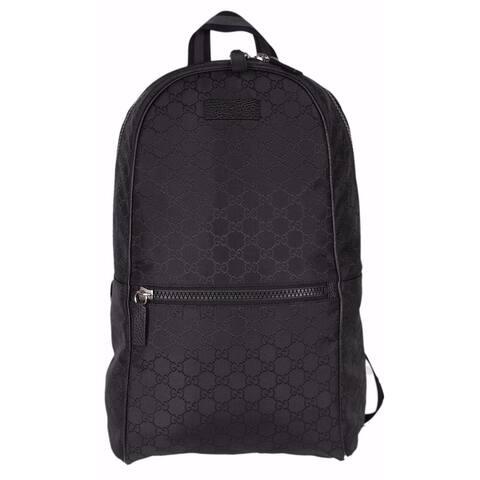 91d64e004 Gucci 449181 Black Nylon GG Guccissima Slim Backpack Rucksack Travel Bag
