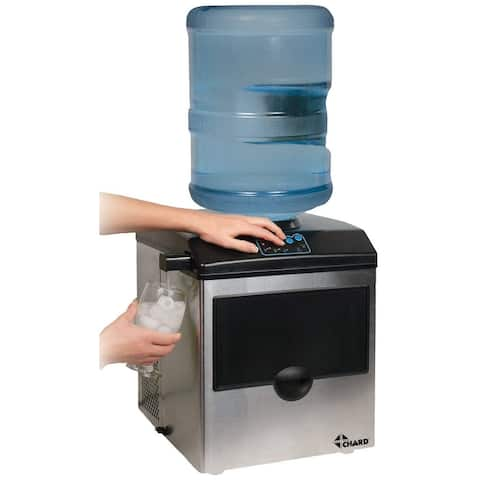 Chard IM-15SS Freestanding Ice Maker with Water Dispenser, 40 lb Per Day, Stainless Steel