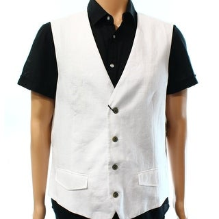 Tasso Elba NEW White Mens Size Medium M Four-Button Linen Dress Vest