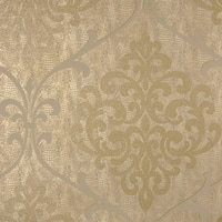 Brewster 2542-20714 Ambrosia Brass Glitter Damask Wallpaper