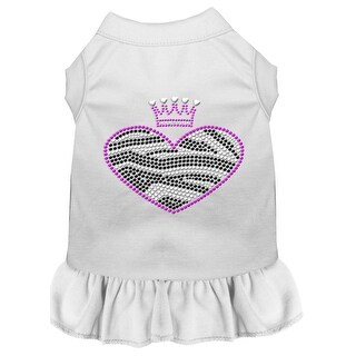 Zebra Heart Rhinestone Dress White Lg (14)