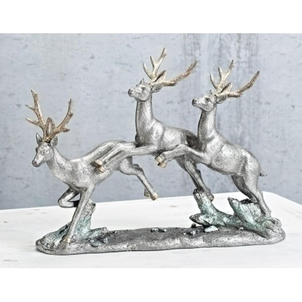 """14"""" Silver and Gold Colored Vintage Glittered Christmas Deer Figure"""