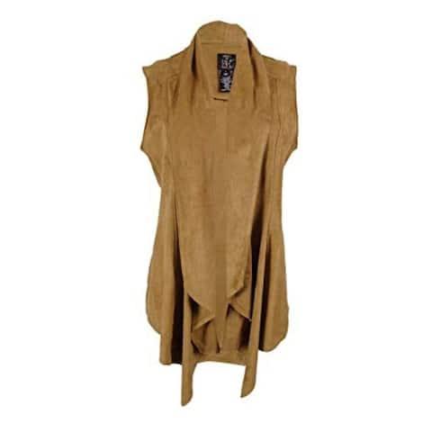 Vakko INC Womens Faux Suede Draped Casual Vest, Camel, X-Large