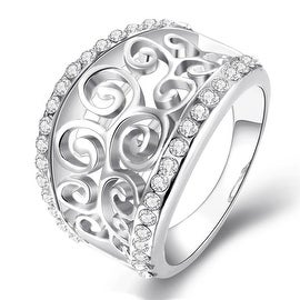 White Gold Plated Swirl Design Thick Ring
