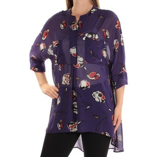 Womens Purple Floral 3/4 Sleeve Jewel Neck Casual Button Up Top Size S
