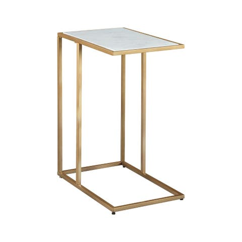Lanport Contemporary Champagne Accent Table w/ White Marble Tabletop