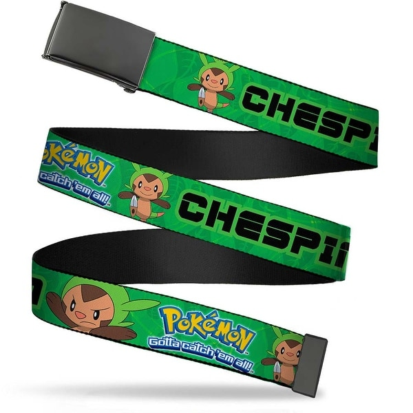 Blank Black Buckle Pokemon X & Y Chespin Poses Leaves Greens Webbing Web Belt