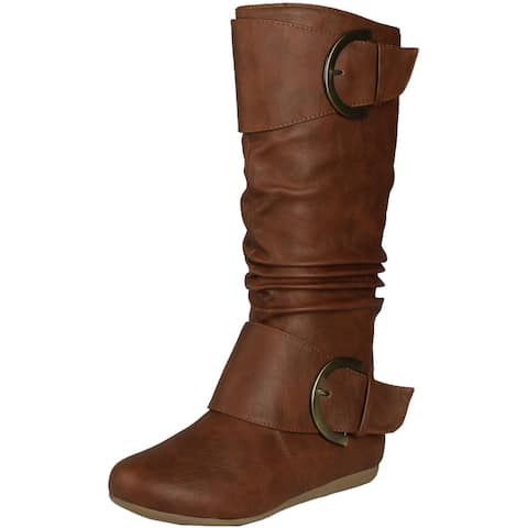 Top Moda Women's Bank 85 Slouch Boots With Buckle - Tan