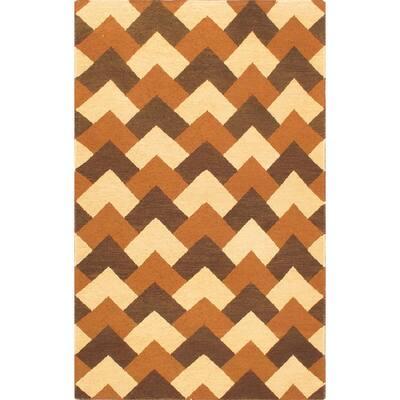 "ECARPETGALLERY Flat-weave Chobi SMK Cream Wool Sumak - 3'9"" x 5'9"""