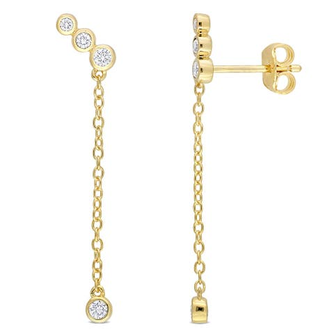 Eternally Yours 1/5ct TW Lab Created Diamond Drop Earrings in 18k Yellow Gold Plated Sterling Silver