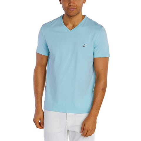 Nautica Mens Short Sleeve V-Neck Solid Jersey T-Shirt, Adult