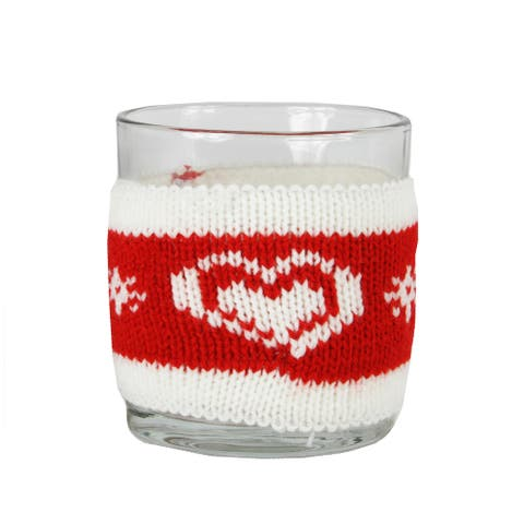 """3.25"""" Red and White Knitted Heart Design Votive Christmas Candle Holder"""