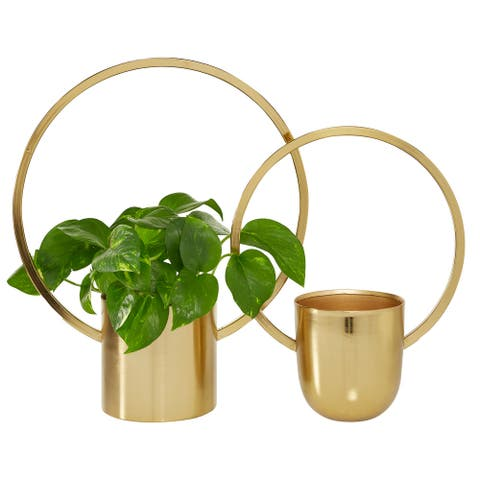 "Round Gold Metal Ring Wall Planter Set Of 2 11"" 14"" - 14 x 6 x 18"