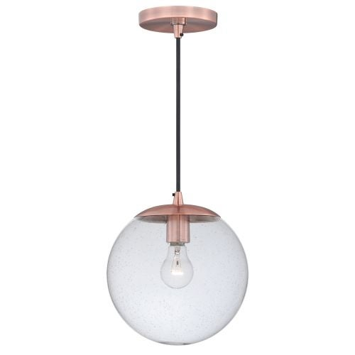 Vaxcel Lighting P0162 630 Series Single Light Pendant with Globe Shaped Seedy Glass Shade