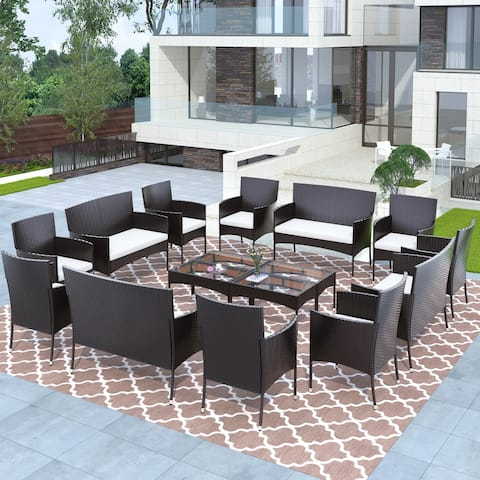 Nestfair 16 Piece Outdoor Garden Rattan Patio Furniture Set Cushioned Seat Wicker Sofa