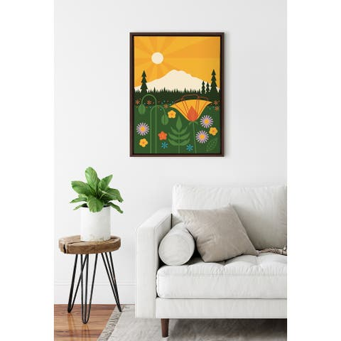 Kate and Laurel Sylvie Mt Rainier Framed Canvas by Amber Leaders Designs